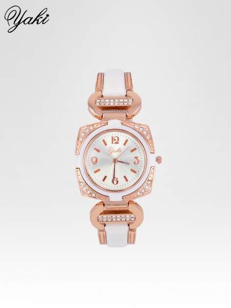 Biżuteryjny zegarek damski w kolorze różowego złota z łączonych materiałów