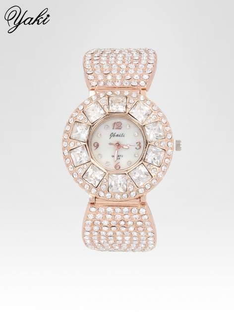 Biżuteryjny zegarek damski z różowego złota na bransolecie z cyrkoniami i kryształkami