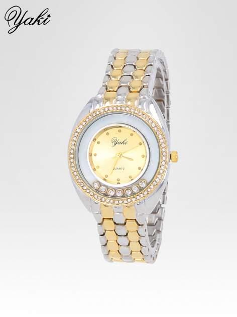 Biżuteryjny złoto-srebrny zegarek damski z cyrkoniami                                  zdj.                                  2