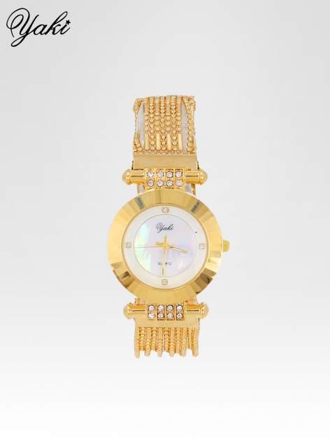Biżuteryjny złoty zegarek damski z białą tarczą