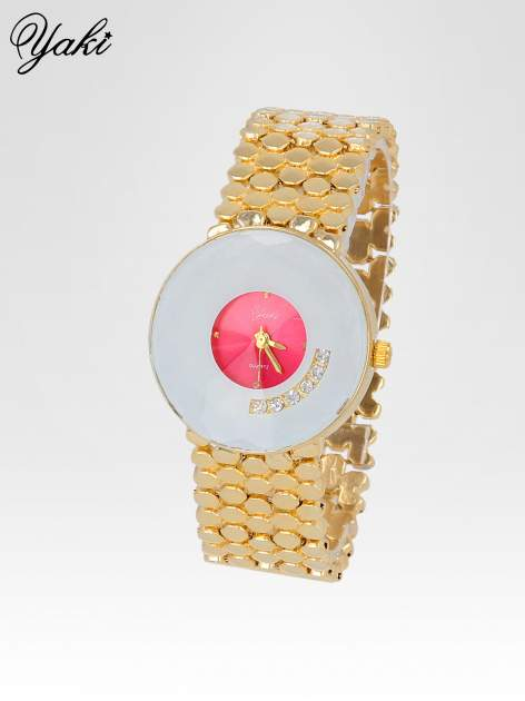 Biżuteryjny złoty zegarek damski z białożową tarczą z cyrkoniami                                  zdj.                                  2