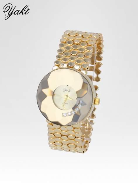 Biżuteryjny złoty zegarek damski z tarczą z cyrkoniami                                  zdj.                                  2