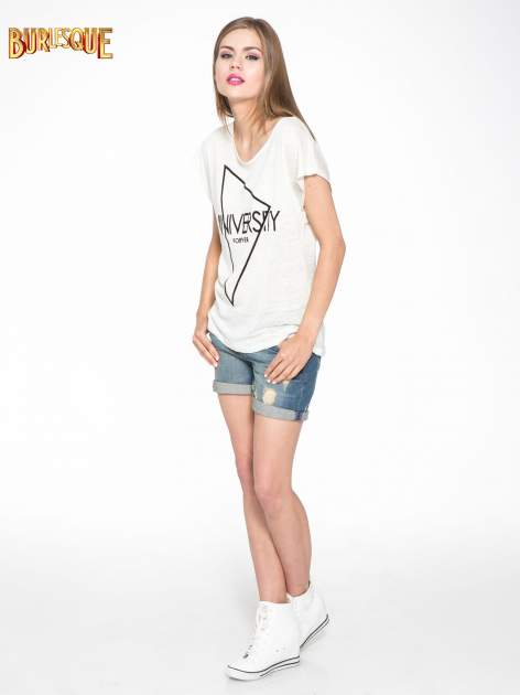 Blady ecru t-shirt z nadrukiem UNIVERSITY FORVER                                  zdj.                                  2