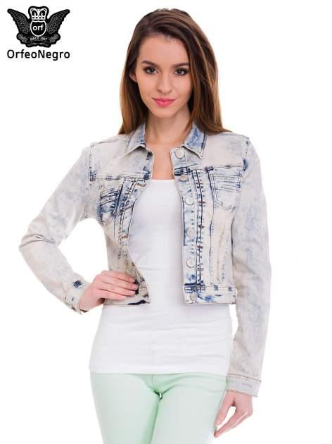 Błękitna kurtka jeansowa damska z marmurkowego denimu                                  zdj.                                  1