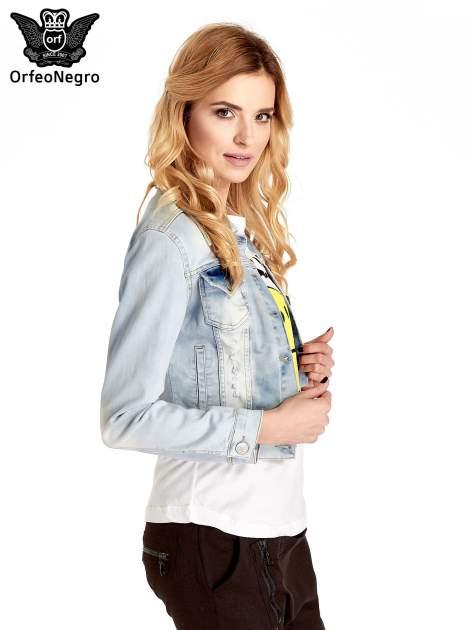 Błękitna kurtka jeansowa damska z poszarpaniem i cieniowaniem                                  zdj.                                  3