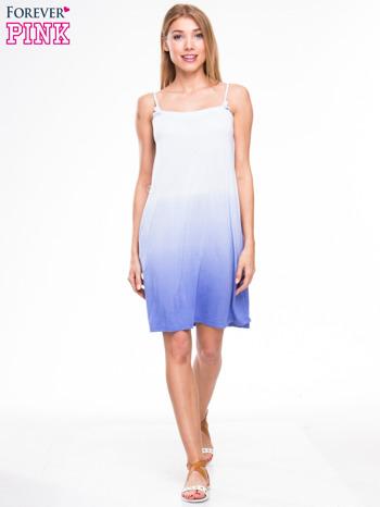 Błękitna sukienka na ramiączka z efektem ombre                                  zdj.                                  4