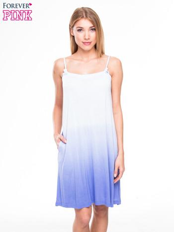Błękitna sukienka na ramiączka z efektem ombre                                  zdj.                                  1