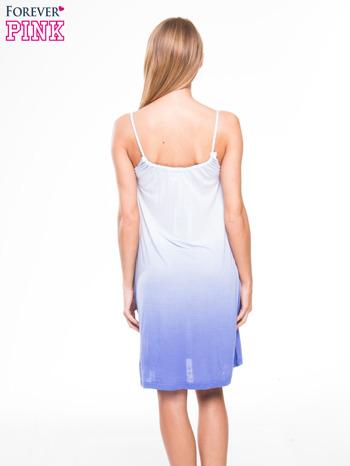 Błękitna sukienka na ramiączka z efektem ombre                                  zdj.                                  3