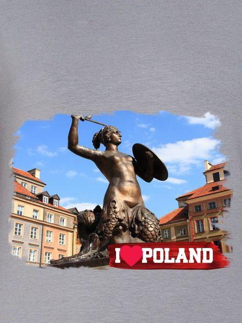 Bluza damska I LOVE POLAND z nadrukiem Warszawy szara                              zdj.                              2