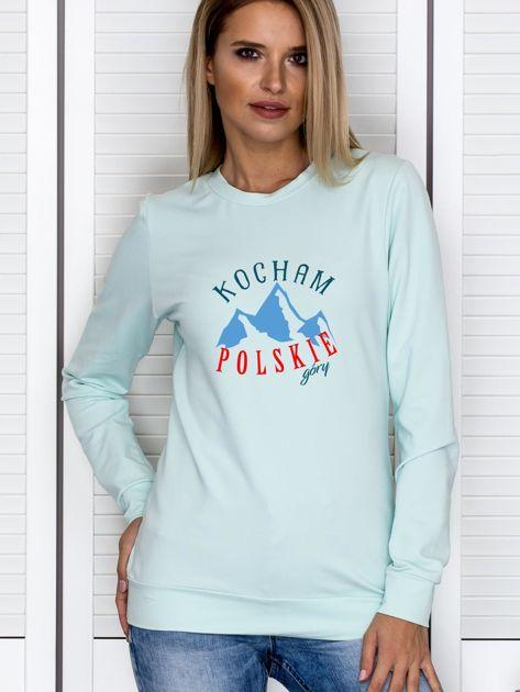Bluza damska patriotyczna KOCHAM POLSKIE GÓRY miętowa                              zdj.                              1