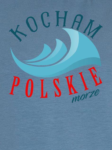 Bluza damska patriotyczna KOCHAM POLSKIE MORZE niebieska                              zdj.                              2