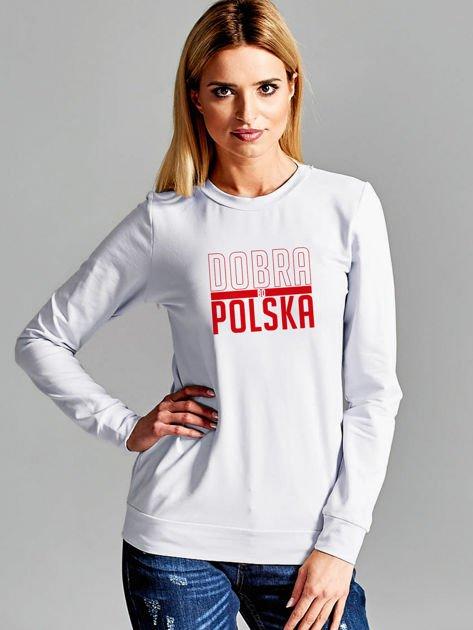 Bluza damska patriotyczna nadruk DOBRA BO POLSKA jasnoszara                                  zdj.                                  1