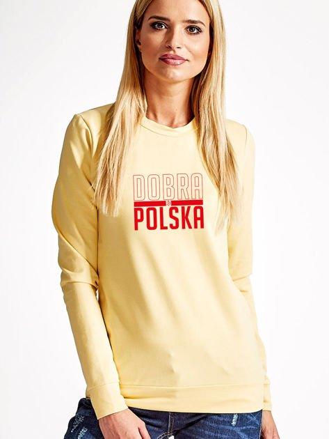 Bluza damska patriotyczna nadruk DOBRA BO POLSKA żółta                                  zdj.                                  1