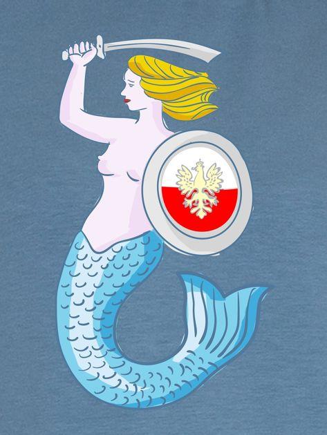 Bluza damska patriotyczna z Warszawską Syrenką niebieska                              zdj.                              2