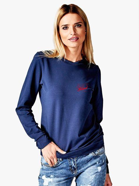 Bluza damska patriotyczna z dyskretnym nadrukiem granatowa                              zdj.                              1