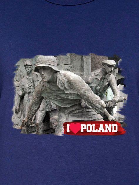 Bluza damska patriotyczna z grafiką I LOVE POLAND granatowa                              zdj.                              2