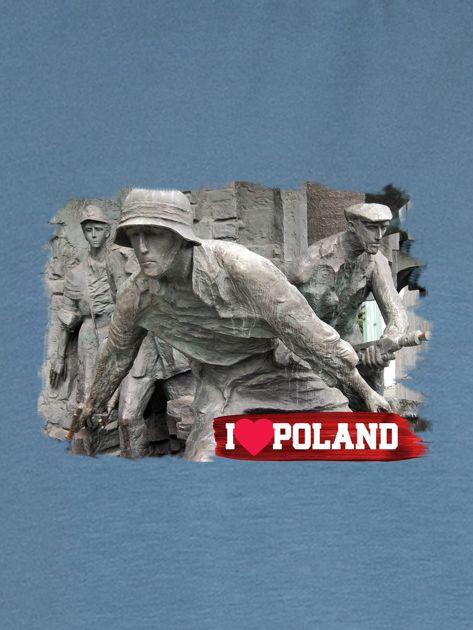 Bluza damska patriotyczna z grafiką I LOVE POLAND niebieska                              zdj.                              2