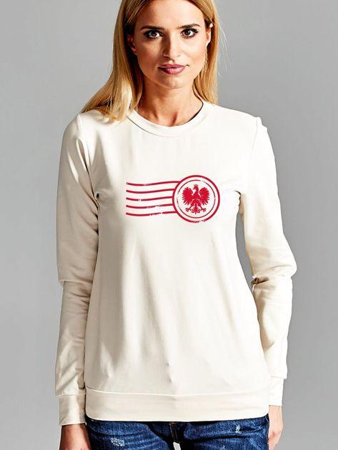 Bluza damska patriotyczna z nadrukiem Orła Białego ecru                              zdj.                              1