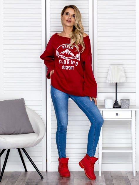 Bluza damska z górskim nadrukiem i szerokimi rękawami bordowa                              zdj.                              4