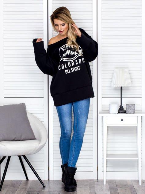 Bluza damska z górskim nadrukiem i szerokimi rękawami czarna                              zdj.                              4
