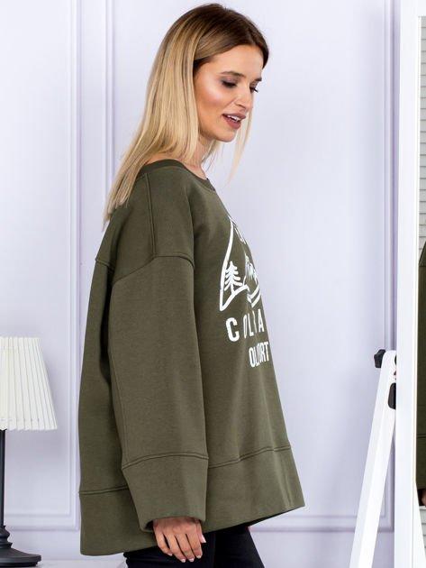 Bluza damska z górskim nadrukiem i szerokimi rękawami khaki                              zdj.                              3