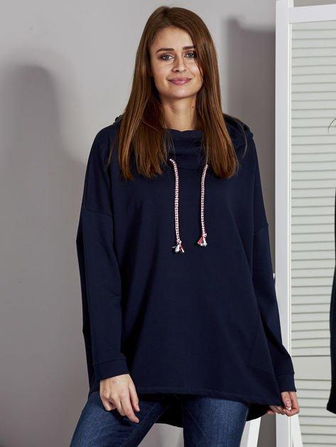Bluza damska z kolorowymi troczkami granatowa                                  zdj.                                  1