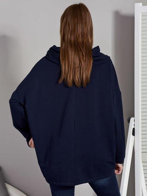 Bluza damska z kolorowymi troczkami granatowa                              zdj.                              2