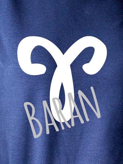 Bluza damska z motywem znaku zodiaku BARAN granatowa                              zdj.                              2