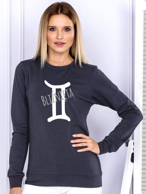 Bluza damska z motywem znaku zodiaku BLIŹNIĘTA grafitowa                              zdj.                              1