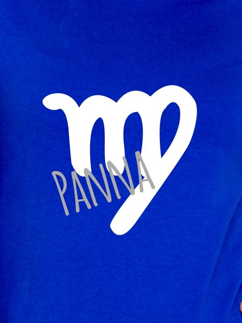 Bluza damska z motywem znaku zodiaku PANNA kobaltowa                              zdj.                              2
