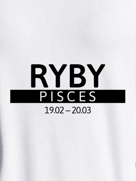 Bluza damska z nadrukiem znaku zodiaku RYBY jasnoszara                                  zdj.                                  2