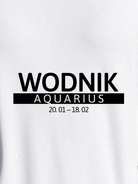 Bluza damska z nadrukiem znaku zodiaku WODNIK jasnoszara                                  zdj.                                  2