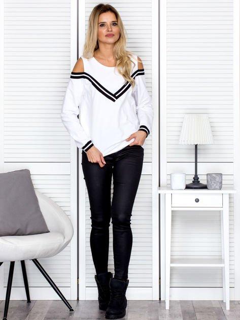 Bluza damska z ściągaczami biała                                  zdj.                                  4