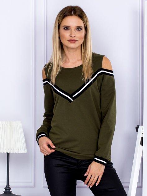 Bluza damska z ściągaczami khaki                              zdj.                              1