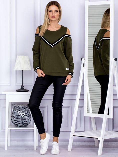 Bluza damska z ściągaczami khaki                              zdj.                              4