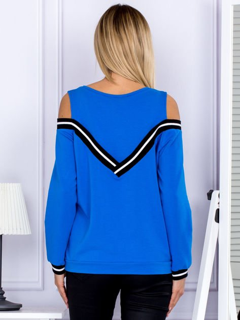 Bluza damska z ściągaczami niebieska                              zdj.                              2