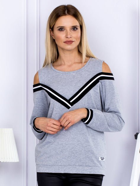 Bluza damska z ściągaczami szara                              zdj.                              1