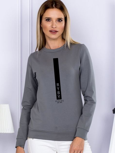 Bluza damska znak zodiaku RYBY szara                                  zdj.                                  1
