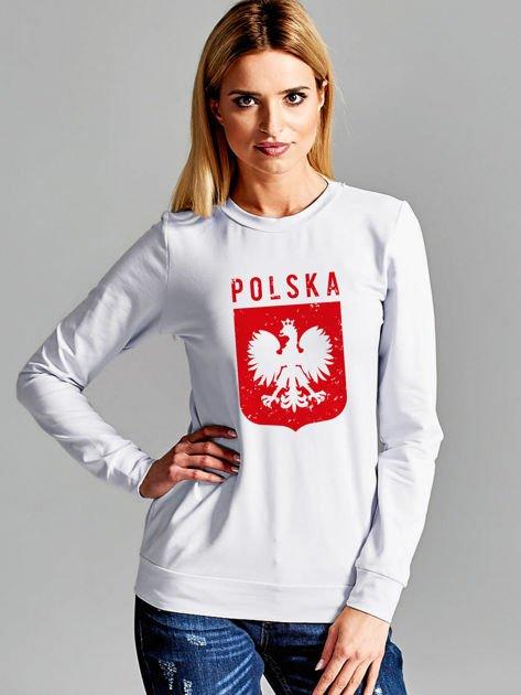 Bluza patriotyczna POLSKA z nadrukiem Orła Białego jasnoszara                                  zdj.                                  1