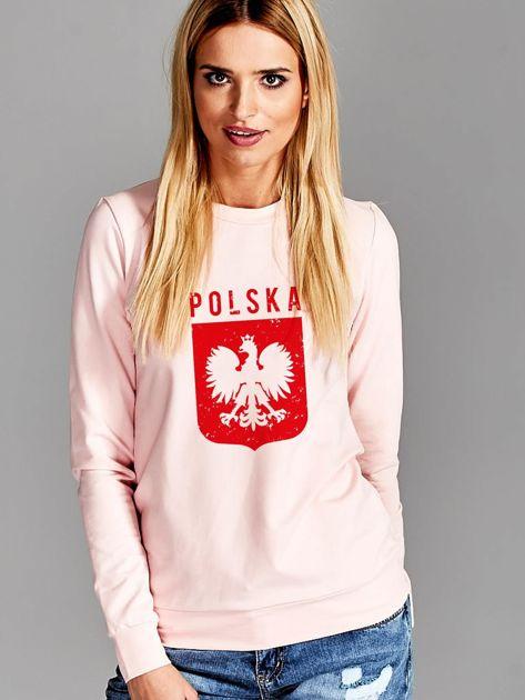 Bluza patriotyczna POLSKA z nadrukiem Orła Białego różowa                              zdj.                              1