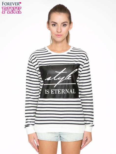 Bluza w ecru-granatowe paski z napisem STYLE IS ETERNAL                                  zdj.                                  1