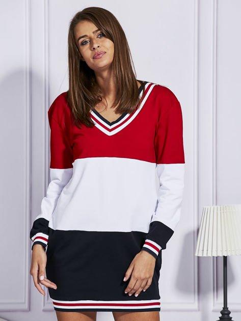 Bluza z kolorowymi modułami czerwona                                  zdj.                                  1