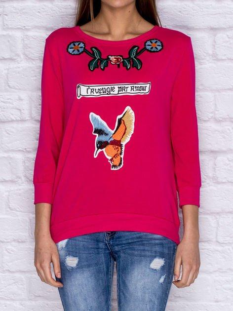 Bluza z kolorowymi naszywkami i napisem różowa                              zdj.                              1