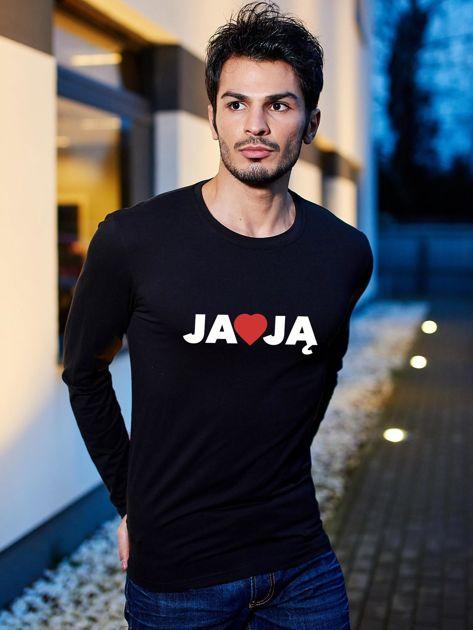 Bluzka czarna męska z nadrukiem JA KOCHAM JĄ dla par                                  zdj.                                  1