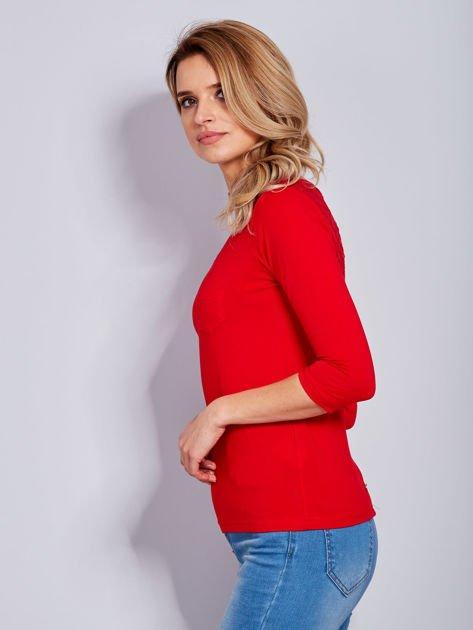 Bluzka czerwona z guzikami i koronką z tyłu                              zdj.                              6