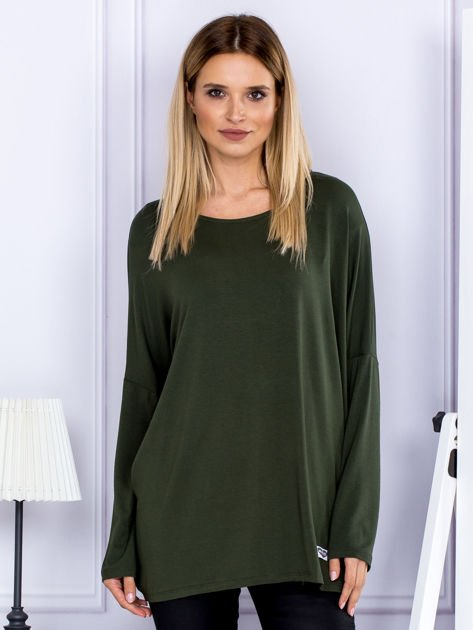 Bluzka damska oversize khaki                              zdj.                              1