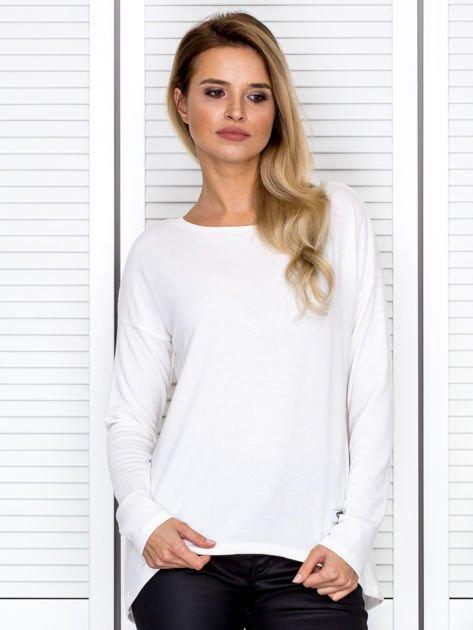 Bluzka damska oversize z długim rękawem ecru                              zdj.                              1