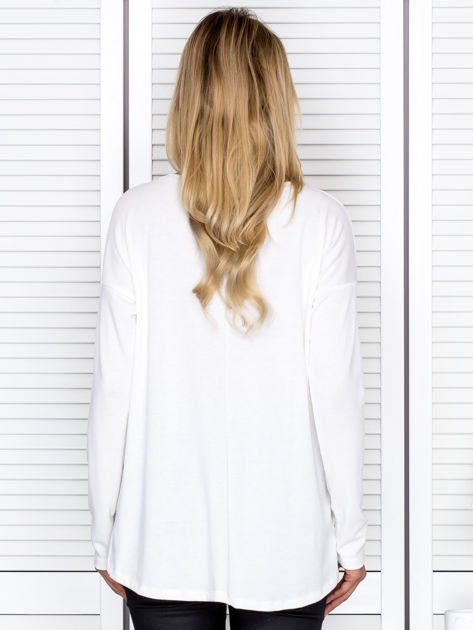 Bluzka damska oversize z długim rękawem ecru                              zdj.                              2