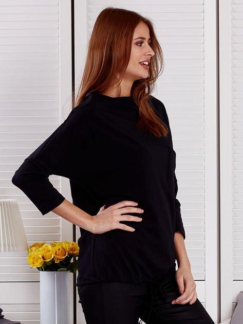 Bluzka damska oversize z kieszenią czarna                                  zdj.                                  5