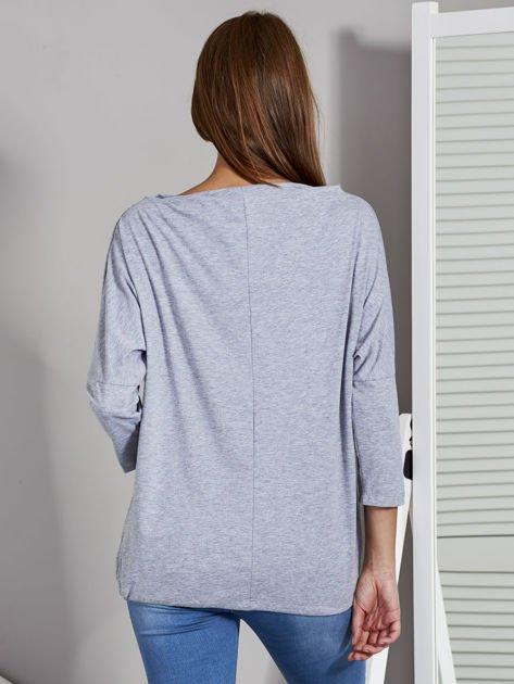 Bluzka damska oversize z kieszenią szara                                  zdj.                                  2